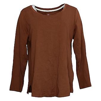 Isaac Mizrahi Live! Women's Top Long Sleeve Jersey Brown A387524
