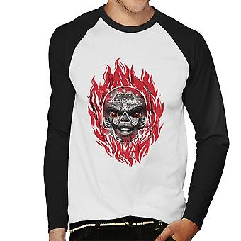 Chucky Flames Heren's Baseball T-Shirt met lange mouwen