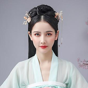 Flower Pearls Long Tassel Headpieces Hairpins Sticks Jewelry Sets