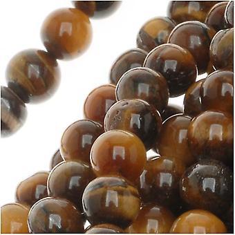 Koraliki z kamienia szlachetnego, Tiger Eye, okrągłe 5-7mm, 15,5 cala nici, brązowy i złoty