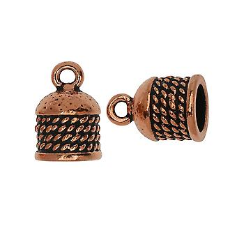 Final Sale - TierraCast Cord Ends, Roped Dome 16mm, Fits 8mm Cord, 2 Pieces, Antiqued Copper Plated