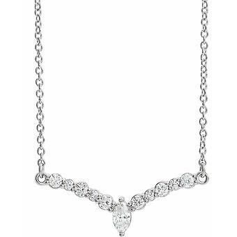 14k Vitt Guld 25.2x9mm 18 Tum Polerad 0.33 Carat Diamond 18 Tum V Halsband Smycken Gåvor för kvinnor