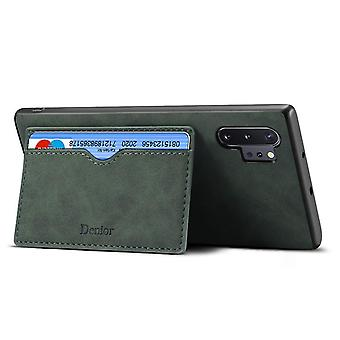 Wallet leather case card slot for samsung note9 dark green no4606