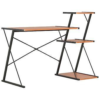 vidaXL-työpöytä, hylly musta ja ruskea 116×50×93 cm
