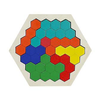Hölzerne Sechseck Puzzle, Geometrie Logik iq Spiel az4549