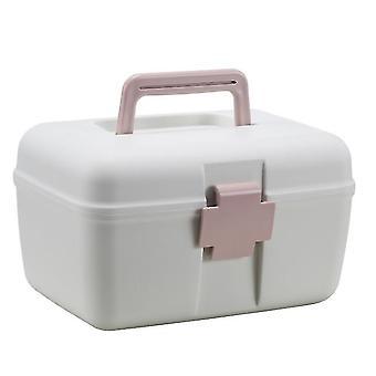 24.5X18.5x14.5cm rosa multifunktionell medicinskåp hushålls bärbar bärbar medicin dubbelskikts förvaringslåda az15336