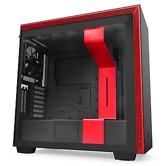NZXT H710 Midi Tower Gaming Case - Black/Red Tempered Glass