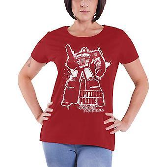 Transformatorer T Shirt Optimus Prime Splatter nya officiella Womens Skinny passa Red