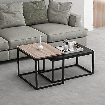 Tavolino da Caffe' Leka, Colore Noce, Nero in Truciolare Melaminico, Metallo, Tavolino Grande L60xP47xA45 cm, Tavolino Basso L72xP45xA37 cm