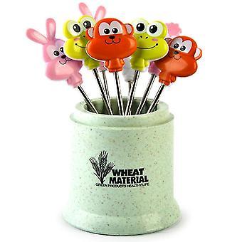 8 pcs stainless steel fruit fork, fruit toothpicks(Green)