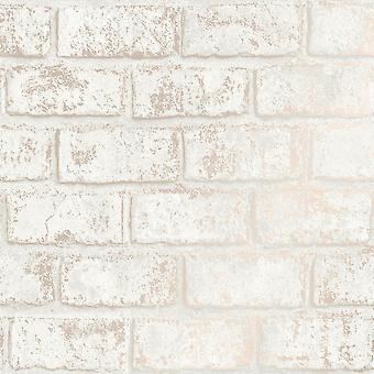 Holden Decor Glistening Brick Cream Rose Gold Wallpaper 12952