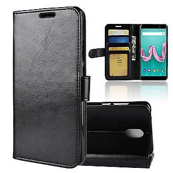 Boîtier multifonctionnel en cuir PU Leather Shell pour Wiko Sunny 2 Plus Black