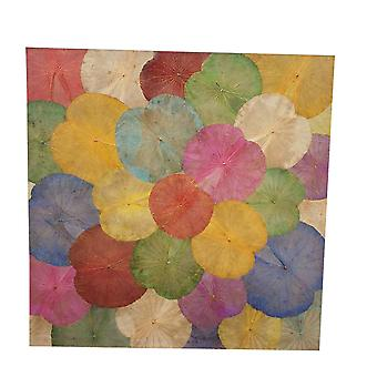 Fine Asianliving Lotus Leaf Maleri Bærekraftig Veggkunst Flerfarget