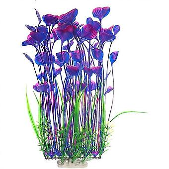 Large Aquarium Plants Artificial Plastic Fish Tank Plants Decoration Ornament Safe(red And Purple)