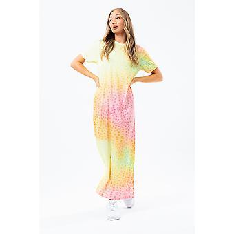 Hype Dames/Dames Regenboog Dalmatisch T-Shirt Maxi Jurk