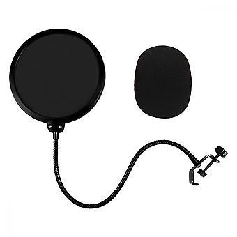 Microphone Pop Filter, Swivel Double Layer Sound Shield Guard(black)