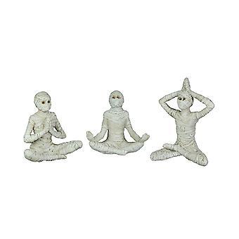 Set of 3 Zen Meditation Yoga Pose Mummy Figurines