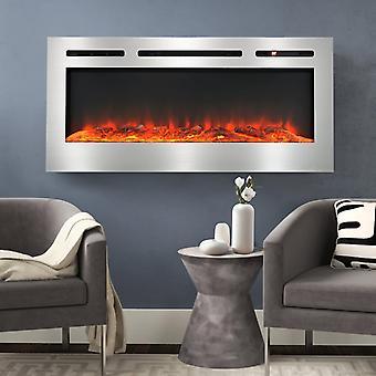12 Flammes LED Cheminée Murale Électrique - Argent, 40 Pouces