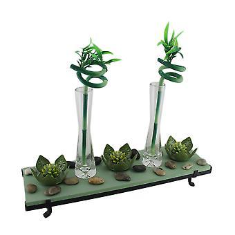 Zestaw 3 lotus Flower Świecznik 2 Lucky Bamboo Garden świeca