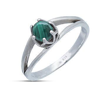 Ring Silber 925 Sterlingsilber Malachit grün Stein (Nr: MRI 214)