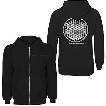 Traga-me o horizon ladies ziped hoodie: flor da vida (impressão traseira)