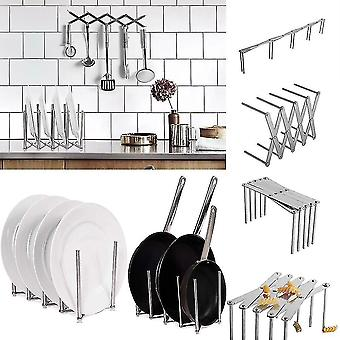 Storage tanks kitchen organizer pot lid rack extended stainless steel spoon plate holder shelf cooking dish tray
