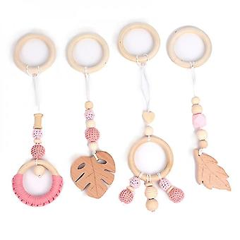 Caraele 4pcs Hanging Wooden Teether Baby Teething Ring Pendants Stroller Molar Rods Play Gym Toy