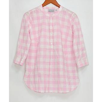 Joan Rivers Classics Collection Women's Top Check Print Tunic Pink A275338