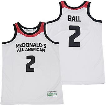 Lonzo Ball masculin #2 Mcdonald's Basketball Jersey Sports T Shirt S-xxl, mode 90s Hip Hop Vêtements pour la fête, lettres cousues et chiffres