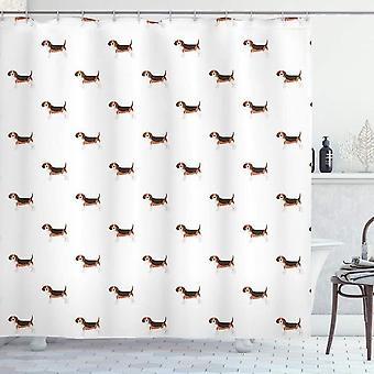 Beagle Shower Curtain, Cartoon Style Rhythmic Art, Fabric Bathroom Decoration Set With Hooks, Brown 180x180cm