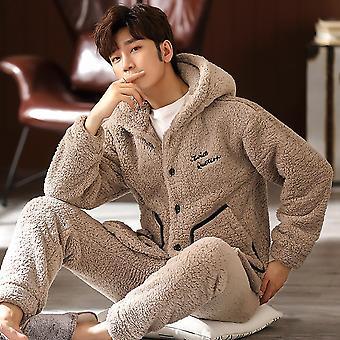 Iarna cald cu glugă Pijama Seturi pagini duble groase Flanel Antistat