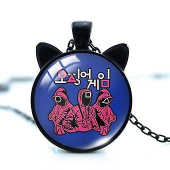 イカゲーム女性ネックレスメンズチェーン猫の耳のデザインセンスカップルギフトペンダントネックレス