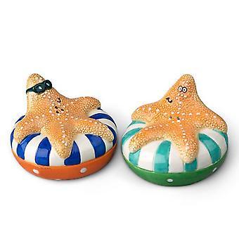 Tropical Inner Tube Floating Starfish Salt and Pepper Shakers Set