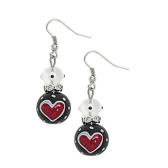 Verdadeiro amor corações vermelhos strass vidro frisado Kate e Macy piercings brincos