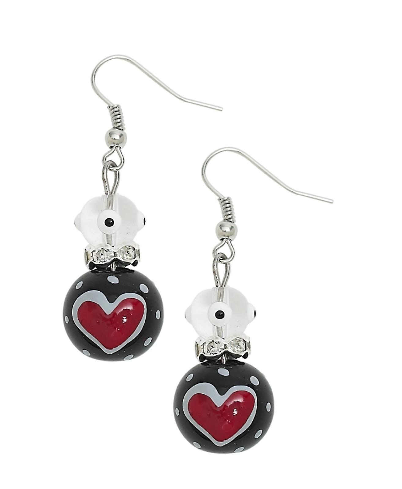 True Love Red Hearts Rhinestone Glass Beaded Kate and Macy Pierced Earrings