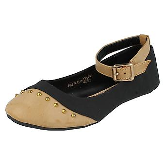 Ladies Spot On Flat Casual Ballerina with Ankle Strap and Studded Toe Cap F8874
