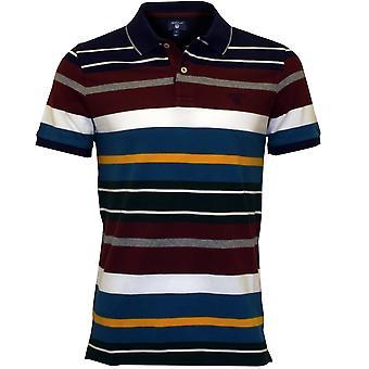 GANT Multi Stripe Pique Rugger Polo Shirt, Burgund/Blau