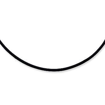 925 Sterling Silber 3mm schwarz Gummi Schnur Halskette Hummer Kralle Schmuck Geschenke für Frauen - Länge: 16 bis 20