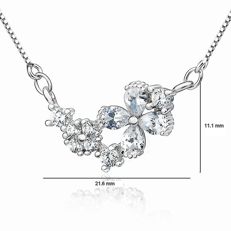 Affici Sterling Silver Necklace 18ct White Gold Plated with Diamond CZ Gems