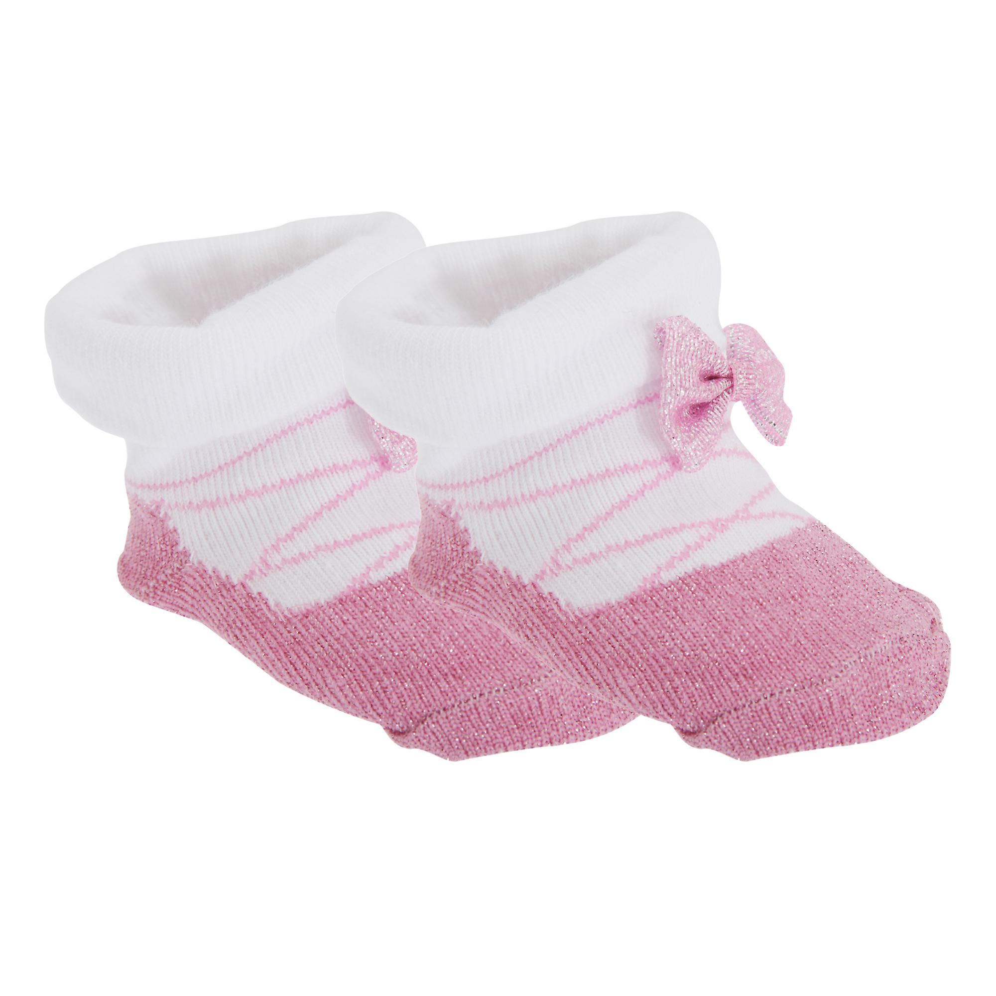Baby Girls Little Angel Glitter Bootie Socks With Gift Pouch (Pack Of 2)