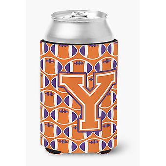 Letter Y Football Orange, White and Regalia Can or Bottle Hugger