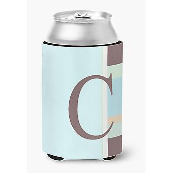 Letter C Initial Monogram - Blue Stripes Can or Bottle Beverage Insulator Hugger