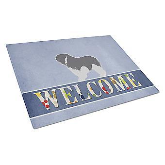 Polish Lowland Sheepdog Dog Welcome Glass Cutting Board Large