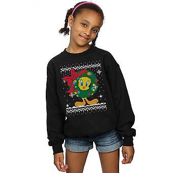 Looney Tunes ragazze torta Tweety Christmas Fair Isle Sweatshirt
