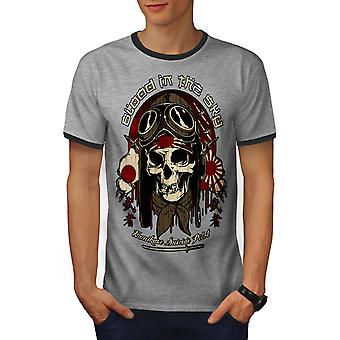 Japão monstro homens piloto Heather Grey / Heather escuro GreyRinger t-shirt | Wellcoda