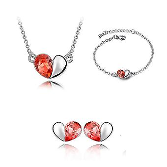 Fire Orange Love Heart Necklace Bracelet and Earrings Set