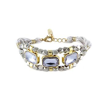 Ettika - Bracelet Crystal and cotton ribbons braided gray