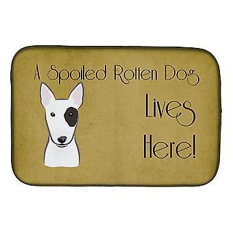 Bullterrieri pilaantunut koiran elämää täällä lautasen kuivaus Mat