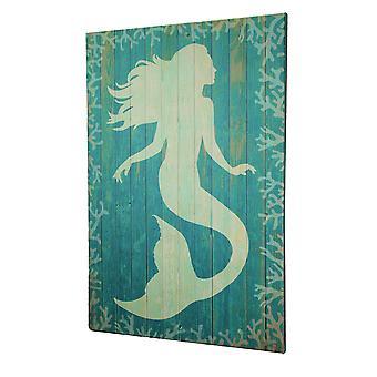 Coastal Mermaid Silhouette Wood Look Canvas Print