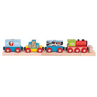 Bigjigs Rail Wooden Goods Train Engine Locomotive Carriage Compatible Track